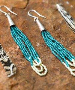 Turquoise Love - Dangle Drop Earring - Southwestern style earring, seed beading, Native American Style, Santa Fe Style Earring, mountain woman earring, turquoise and ivory and sterling silver earring