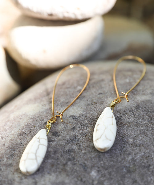 Ivory Drop Dangle Earring, genuine white Howlite tone teardrop shaped, 22K Gold filled kidney hoop or sterling silver hoop, long oblong hoop earring, classy earring, minimalistic earring, good work earring, mountain woman earring, white buffalo or sacred buffalo white turquoise earring