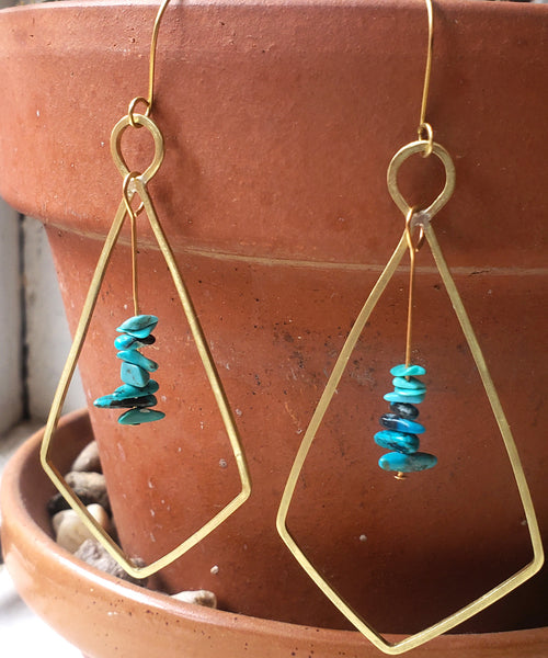 Arrowhead Earring - bronze, metalsmithed, turquoise, handmade, metal work, nadia earring, Laramie, Wyoming, bold, boho, bohemian, mountain girl, gold dangle earring