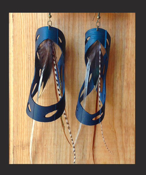 Fleetwood Earring, recycled bike tire, bicycle tube, long earth-toned rooster feathers, pheasant feathers, bold statement, boho, bohemian, Free People style, music festival