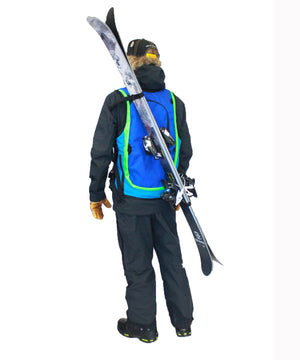 ski carry system for the Side Hustle WhatVest - Maroon/Turquoise - Ski Snowboard Utility Vest, backcountry skiing, top ski apparel 2021,  women 's snowboard vest, backcountry utility vest, avalanche vest, snowmobile, sled neck vest, beacon, shovel probe, safety vest