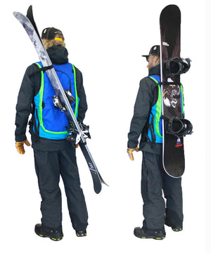 carry your skis, white snow camo ski snowboard backcountry utility vest, skiing snowboarding, winter 2021 best snowboarding apparel, snowboard pack, whatvest, avalanche vest, snowmobile, sled neck vest, beacon, shovel probe, safety vest, big mountain freeskiing