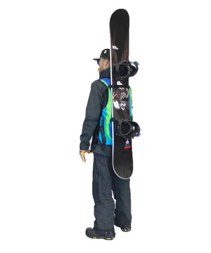 Snowboard carry system for the Ski Snowboard Utility Vest, backcountry skiing, top ski apparel 2021,  women 's snowboard vest, backcountry utility vest, avalanche vest, snowmobile, sled neck vest, beacon, shovel probe, safety vest