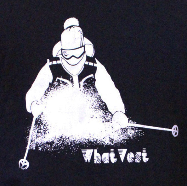 retro 70s ski t-shirt, whatvest t-shirt, 80s t-shirt, black t-shirt for skiing, steamboat t-shirt, vintage ski t-shirt