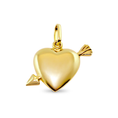 9ct Yellow Gold 'Shot Through The Heart' Pendant