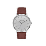 Nixon Porter Leather Watch - Silver/Brown