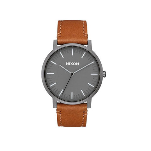 Nixon Porter Leather Watch - Gunmetal/Charcoal Taupe