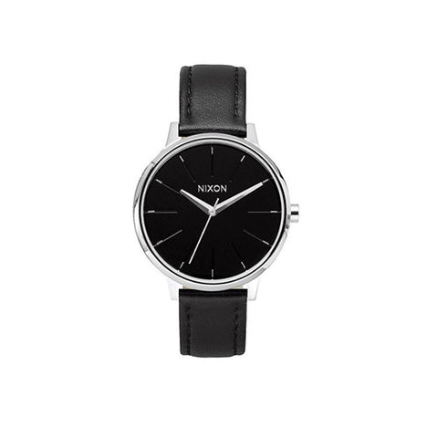 Nixon Kensington Leather Watch - Silver/Black