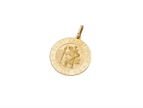 9ct Yellow Gold Saint Christopher Medallion Pendant