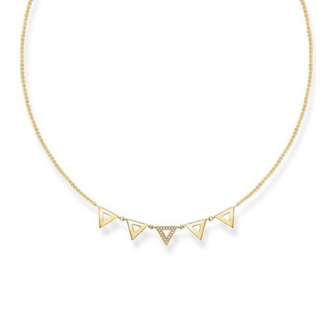 Thomas Sabo Sterling Silver Gold Plated Diamond Triangles Necklace