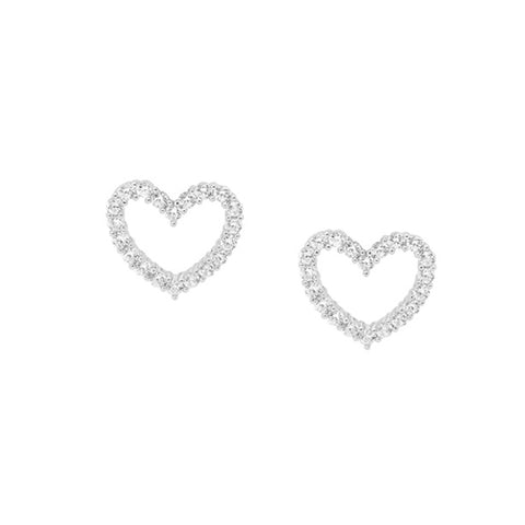 Sterling silver cz open heart stud earrings with claw setting and rhodium finish
