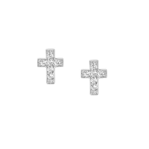 Sterling Silver Cubic Zirconia Cross Stud Earrings With Rhodium Finish