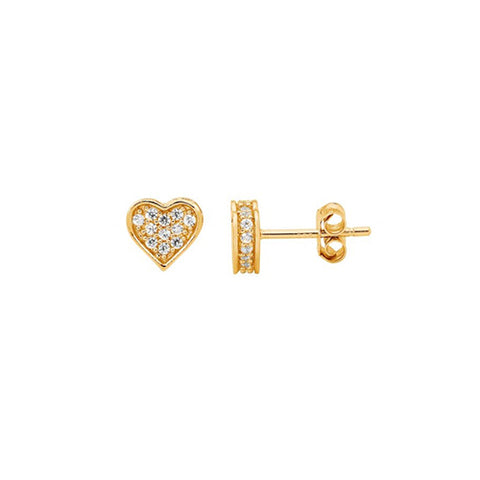 Ellani Sterling Silver Yellow Gold Plated Heart Stud Earrings
