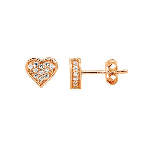 Ellani Sterling Silver Rose Gold Plated CZ Pave Heart Stud Earrings