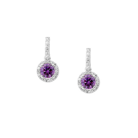 Ellani Sterling Silver Purple & White CZ Earrings