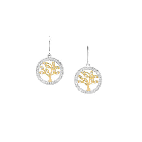 Ellani Sterling Silver Yellow Gold Plated Tree of Life Earrings