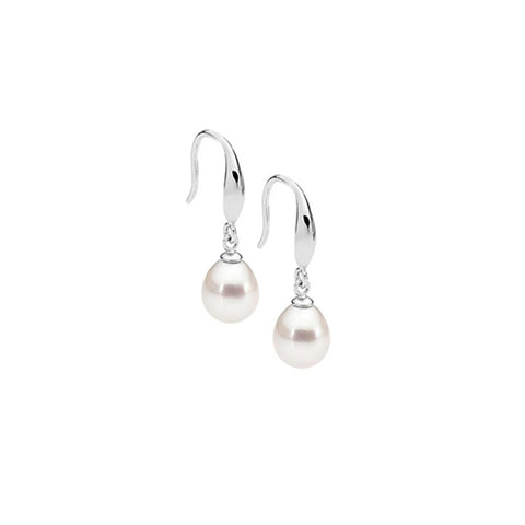 Sterling silver fresh water pearl drop earrings on a shepherd hook
