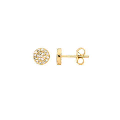 Ellani Sterling Silver Yellow Gold Plated Cubic Zirconia Stud Earrings