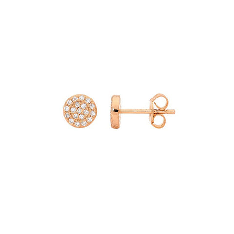 Ellani Sterling Silver Rose Gold Plated Cubic Zirconia Stud Earrings