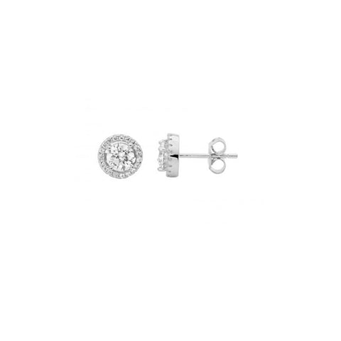 Ellani Sterling Silver CZ Stud Earrings