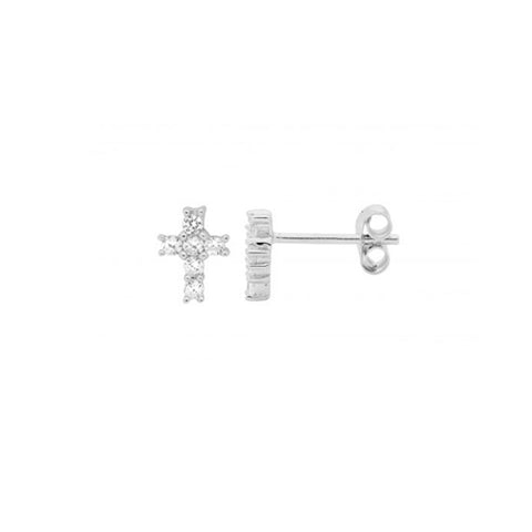 Ellani Sterling Silver CZ Cross Stud Earrings