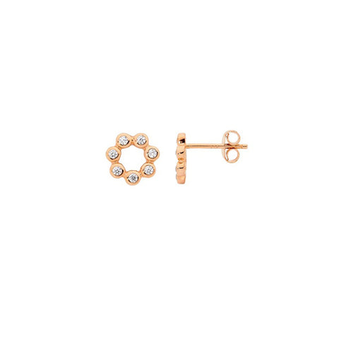 Ellani Sterling Silver Rose Gold Plated CZ Stud Earrings