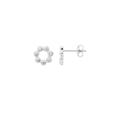 Ellani Sterling Silver Open Circle Stud Earrings