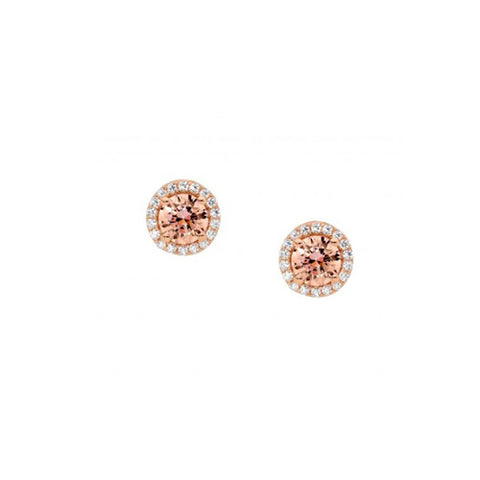 Ellani Sterling Silver Rose Gold Plate Morganite & Cubic Zirconia Stud Earrings
