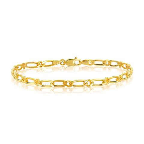 9ct Solid Yellow Gold 1 x 1 Diamond Cut Figaro Bracelet