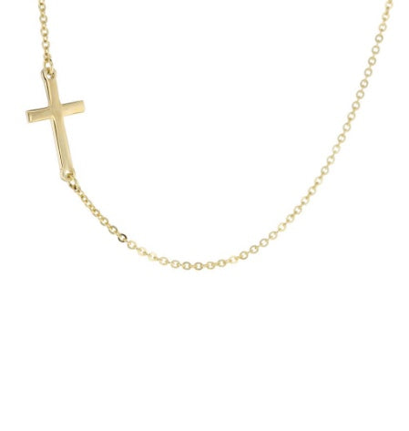 9ct Yellow Gold Sideways Cross Necklace