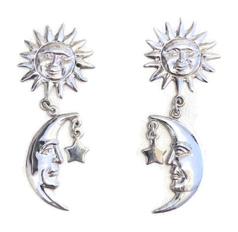 Sterling Silver Earrings, My Sun My Moon and All of My Stars