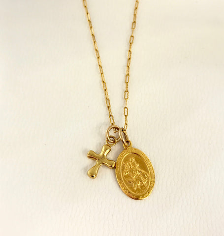 Von Treskow Gold St Christopher & Cross Necklace