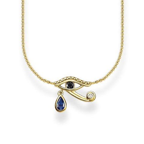 Thomas Sabo Eye of Horus Necklace Sterling Silver 18k Yellow Gold Plating
