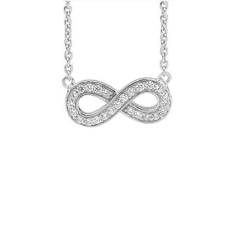 Ellani Sterling Silver CZ Infinity Necklace