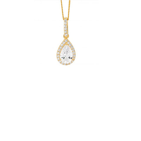 Ellani Sterling Silver Yellow Gold Plated Cubic Zirconia Pear Drop Pendant