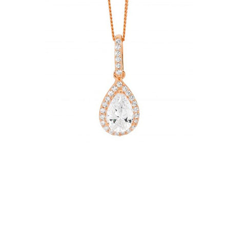 Ellani Sterling Silver Rose Gold Plated Cubic Zirconia Pear Drop Pendant