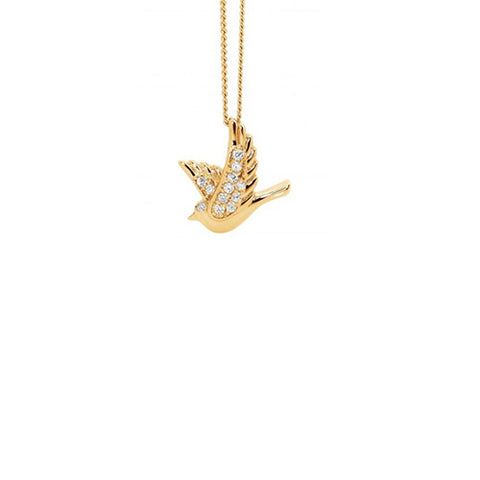 Ellani Sterling SIlver Yellow Gold Plated Cubic Zirconia Dove Pendant
