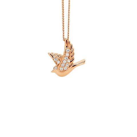 Ellani Sterling Silver Rose Gold Plated Cubic Zirconia Dove Pendant