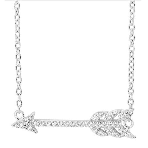 Ellani Sterling Silver CZ Arrow Necklace