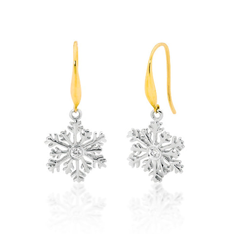 9ct Two Tone Snowflake Earrings
