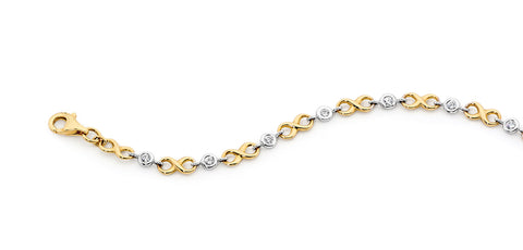 9ct Two-Tone CZ Infinity Bracelet
