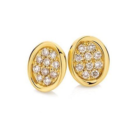 Dreamtime 9ct Yellow Gold Diamond Stud Earrings