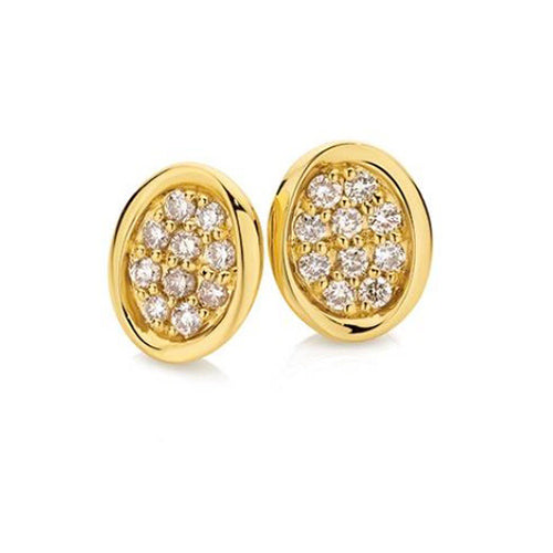 earrings bijoux gold round cut solitaire bezel yellow stud set diamond in majesty o