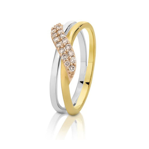 Dreamtime 9ct Three Tone Diamond Ring