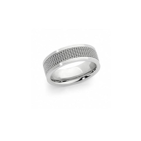 Spartan Men's Stainless Steel Mesh Ring