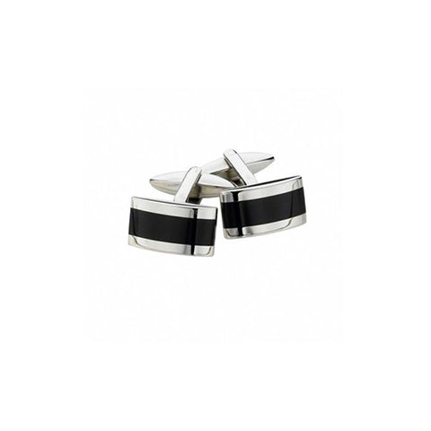 Spartan Rectangle Onyx Cuff Links