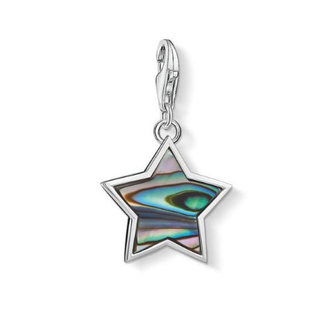 Thomas Sabo Sterling Silver Star Mother Of Pearl Turquoise Charm