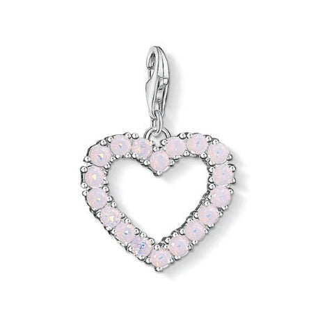 Thomas Sabo Sterling Silver Heart With Pink Stones Charm