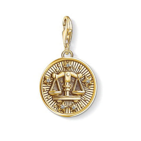 Thomas Sabo Sterling Silver Gold Plated Zodiac Sign Libra Charm