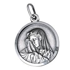 Sterling Silver Medallion Virgin Mary Pendant